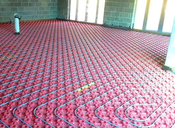 Underfloor heating installed, floor ready to be laid